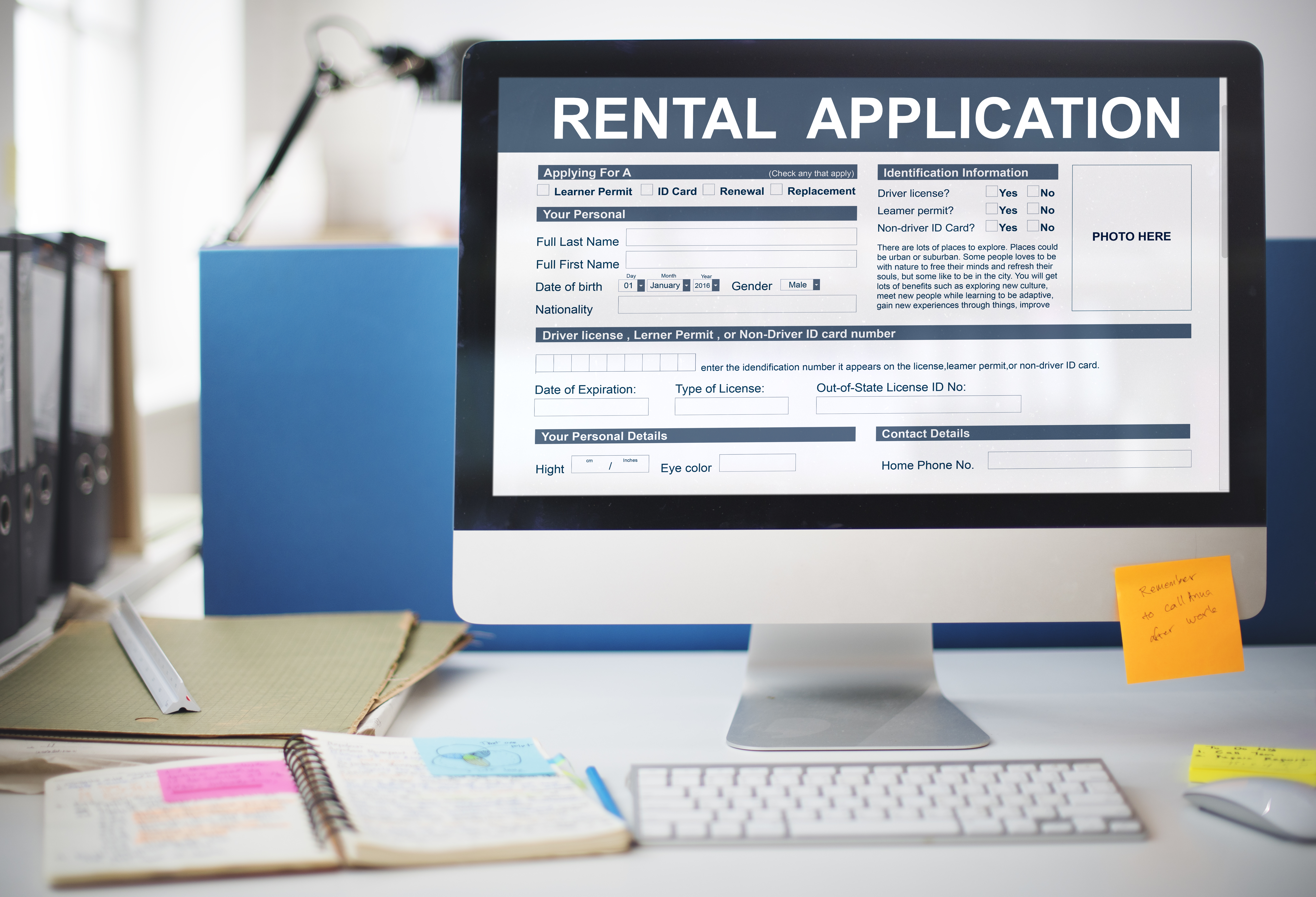 Landlord website with online rental application